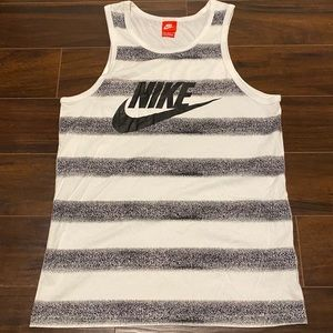 Nike M Black & White Stripe Vintage Logo Tank Top